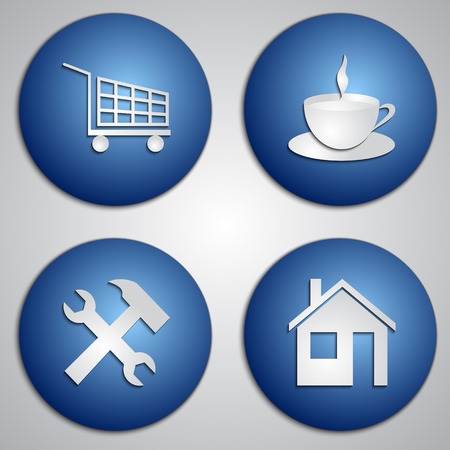 site: set of round blue site icons