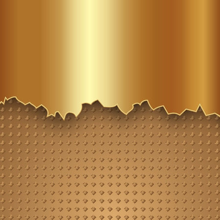abstract gold metal two-part background with rough edge Illustration
