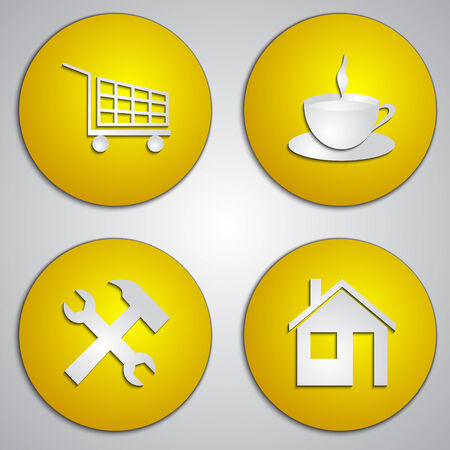site: set of round yellow shop site icons
