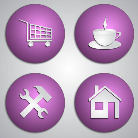 Vector set of round lilac site icons   made as  paper cut image  on grey background