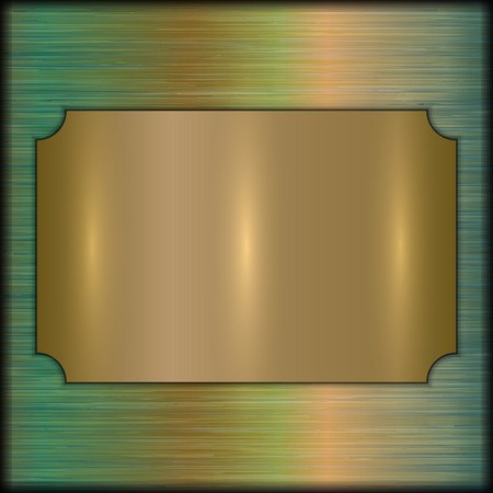 plate: Vector abstract brushed old green gold award plate on beige background Illustration