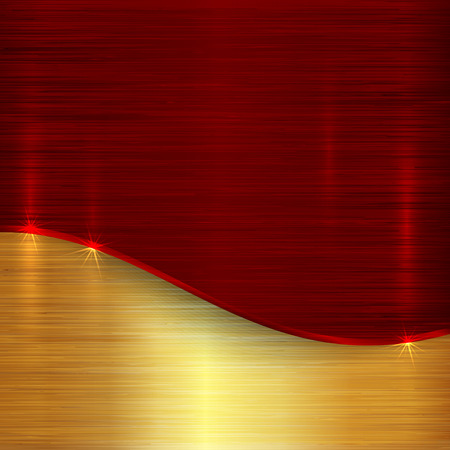 Vector abstract brushed cherry red and gold metallic background