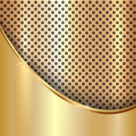 golden texture: Vector metallic golden decorative background with cells and curve Illustration