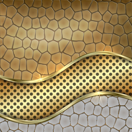 golden texture: Vector metallic golden decorative background with leather, cells and curve