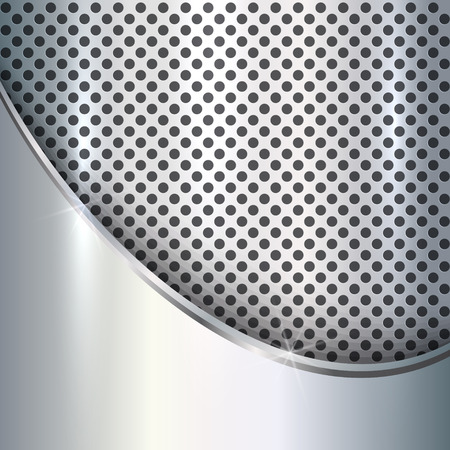 titanium: Vector metallic silver background with curve and cells Illustration