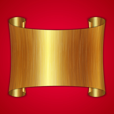 vector abstract brushed gold award scroll plate on red background Vector