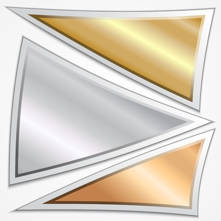 Vector set of three triangle metallic banners or menu choices Vector