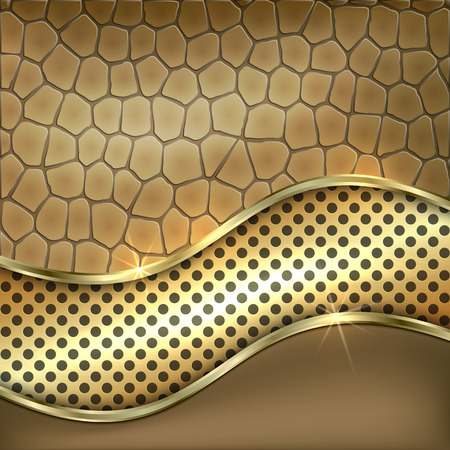 curve: Vector metallic golden decorative background with leather, cells and curve