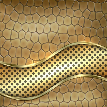 heavy metal: Vector metallic leather decorative background with gold, cells and curve