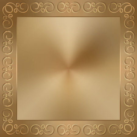 golden texture: Vector abstract metal old gold frame with ornament