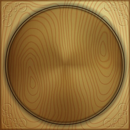 woodburning: Vector abstract wood background with carved circle