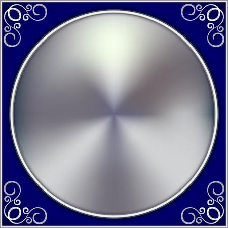 silver circle: Vector abstract silver cerchio su sfondo blu con ornamento Vettoriali