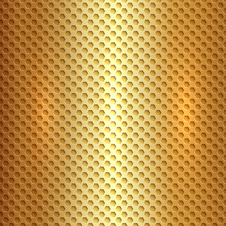 Vector abstract square metal gold hexagon cell grid Vector