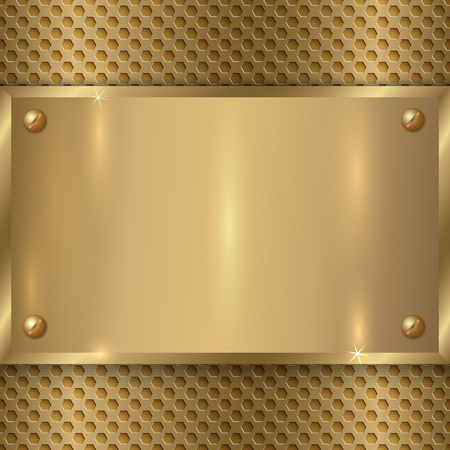 plaque: vector abstract  metal old gold plaque on the cell grid
