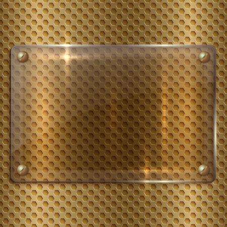 plaque: vector abstract  glass  plaque on the metal cell grid
