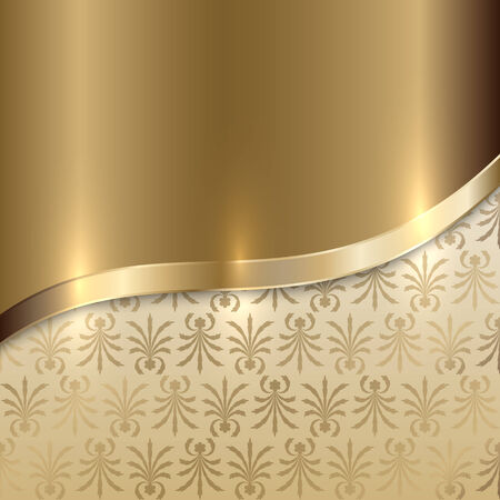 curve: Vector gold texture background with curve line and floral print
