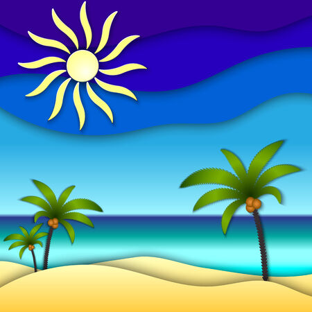 abstract paper collage illustration with sun, sea, beach Vector