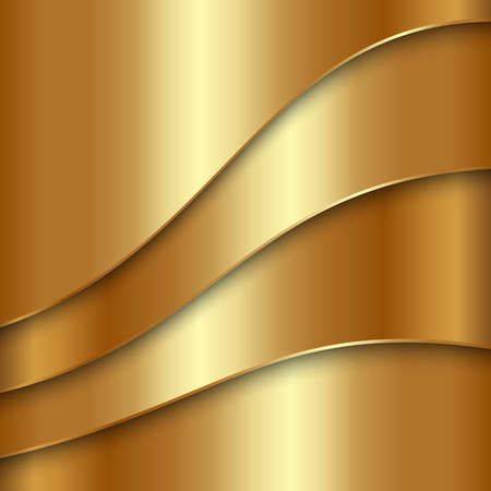 golden texture: abstract golden metallic background with curves Illustration