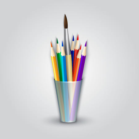 prepare: abstract color pencils and paint brush in the caddy