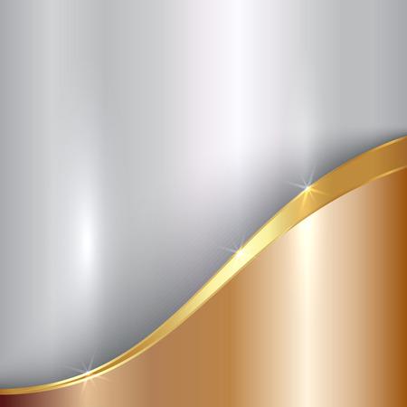 abstracte kostbare metalen achtergrond met curve Stock Illustratie