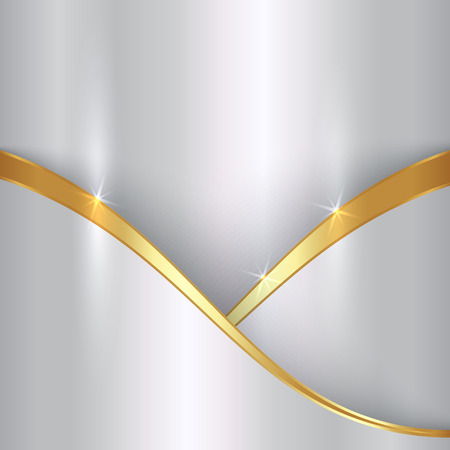 abstract precious metallic background with curves Vector