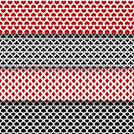 Vector set of seamless patterns with playing cards suits Vector