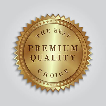 gold ribbon: Vector round golden badge label with text Illustration