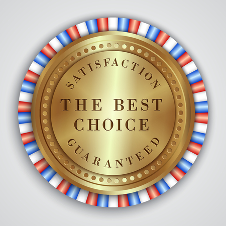 Vector round golden badge label with satisfaction guaranteed and best choice text