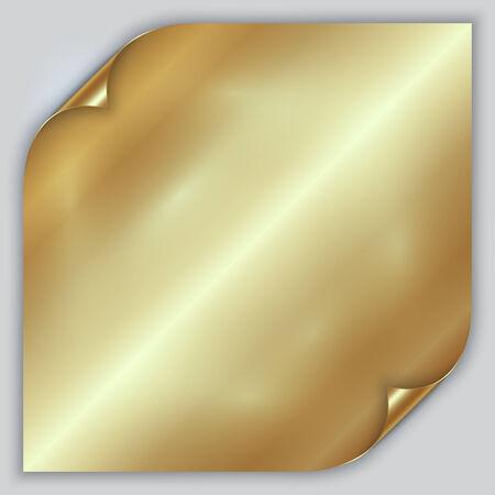 foil: Vector abstract golden metallic rolled foil sheet