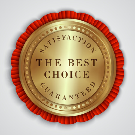 Vector round gold badge with satisfaction guaranteed and best choice text Çizim