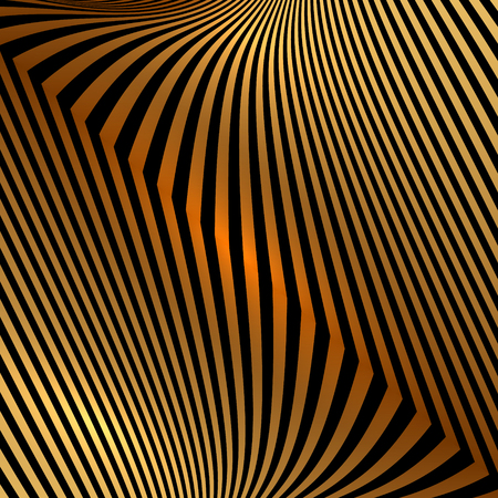 Vector abstract  black and orange metallic background with zigzag stripes Vector