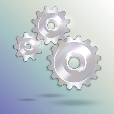 prata: Vector illustration of metal silver cogwheels set