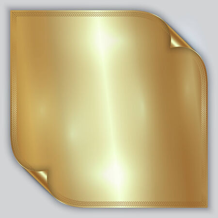 metal sheet: Vector abstract golden metallic foil sheet with rolled corners and border