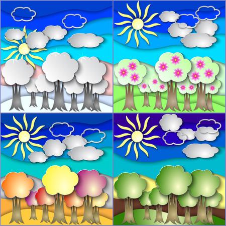 season: Vector illustration set of all season forest made in paper Illustration