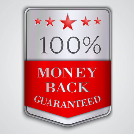 silver medal: Vector  silver badge label with money back guaranteed  text Illustration