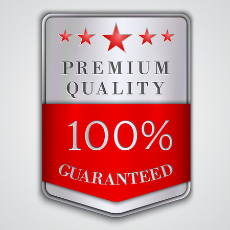 Vector  silver badge label with premium quality and hundred percent  guaranteed  text Çizim