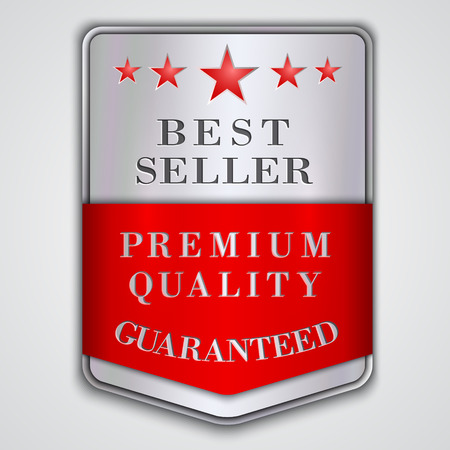 seller: Vector  silver badge label with premium quality and best seller text Illustration