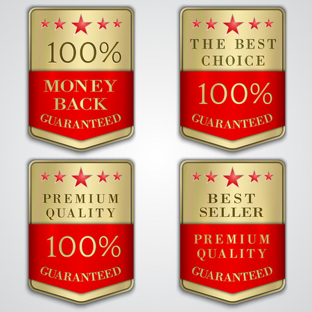 best quality: Vector golden badge label set with premium quality and best seller text Illustration
