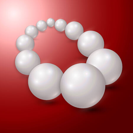pearls and threads: Vector illustration of  pearl string on red background