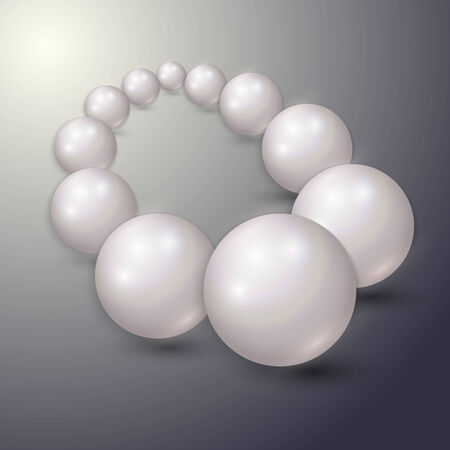 pearls and threads: Vector illustration of  pearl string on grey background