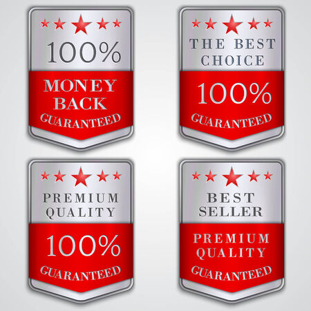 seller: Vector silver badge label set with premium quality and best seller text Illustration