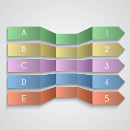 folded paper: Vector set of folded paper enemerated arrows