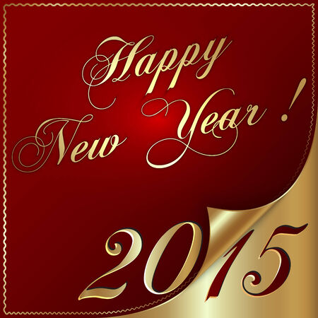 Vector illustration of 2015 new year greeting with curled corner Vector