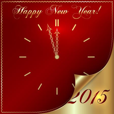 濃い赤の背景に抽象の黄金の新年時計  イラスト・ベクター素材