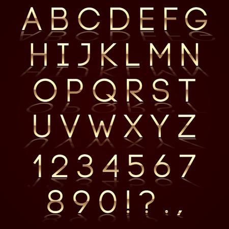 reflection: Vector golden alphabet with reflection on dark background