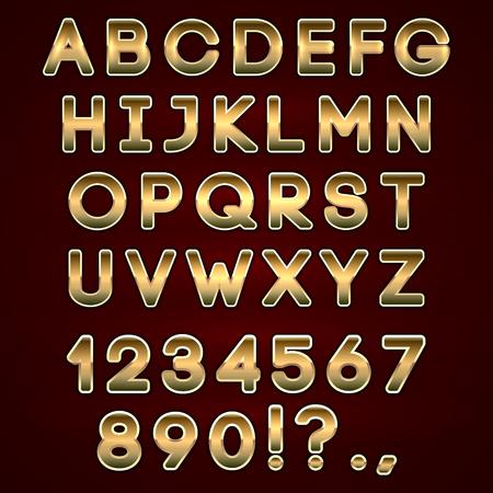 Vector bold golden neon alphabet letters  on dark background Vector