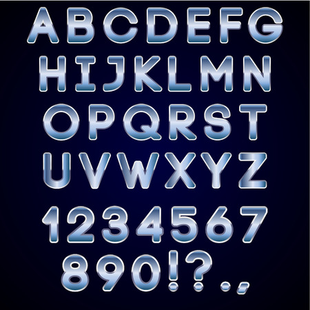 Vector bold chrome and blue neon alphabet letters  on dark background Vector