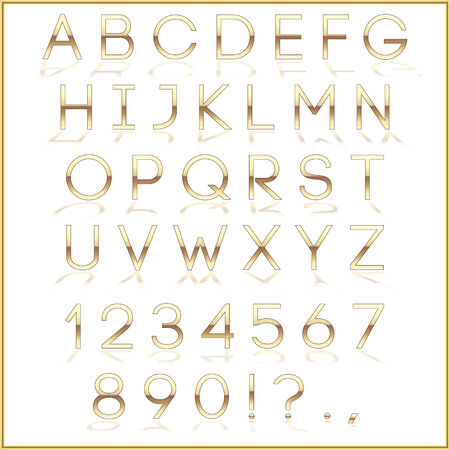 reflection: Vector golden alphabet letters with reflection on white background