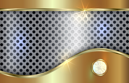 aluminum: Vector abstract golden and silver background  with curve in tabloid format