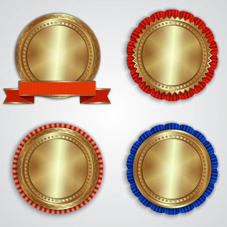 Vector set of round golden badge labels with ribbons and place for text Illustration